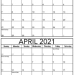 Editable March April 2021 Calendar Printable Sheets Set