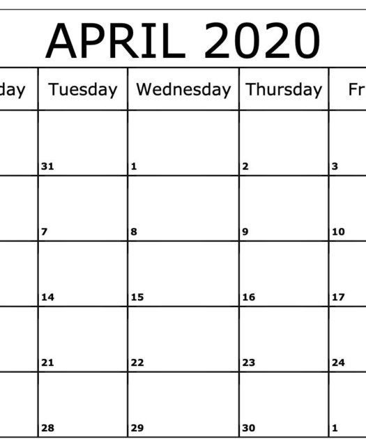 Free April 2020 Calendar PDF Word Excel Template