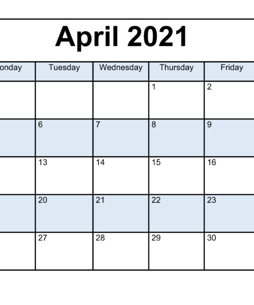 Free April 2021 Calendar Printable PDF Word Templates