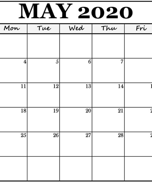 Free Printable May 2020 Calendar Editable Templates