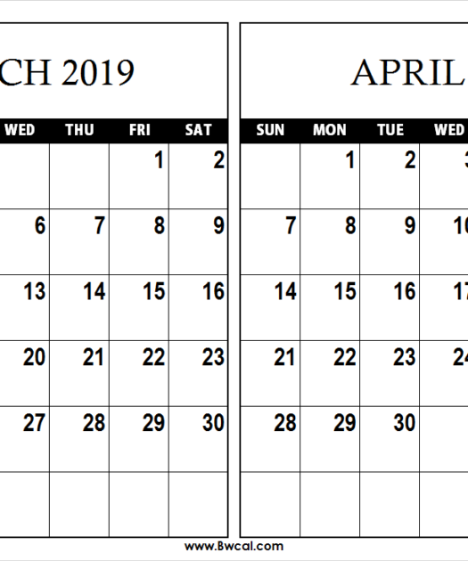March April 2019 Calendar Template Calendar Printables