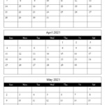 March April May 2021 Calendar Free Printable Template