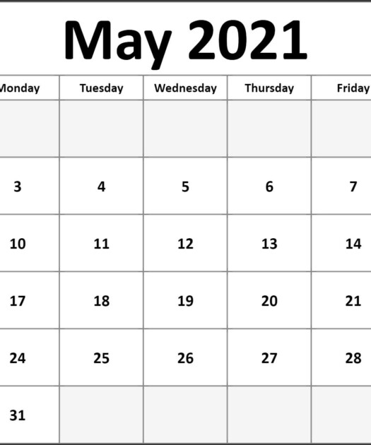 May 2021 Calendar Free Printable Monthly Calendars