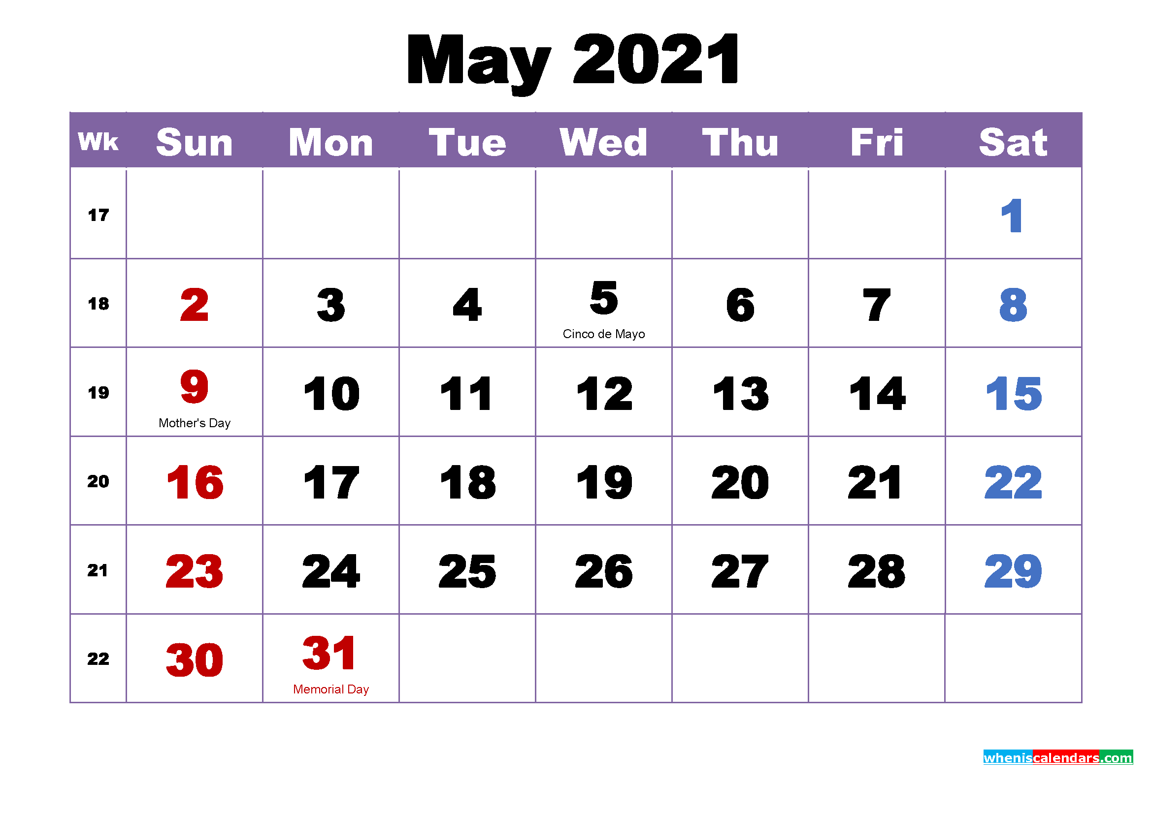 May 2021 Printable Calendar With Holidays Word PDF Free