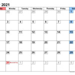 May 2021 Printable Calendars Landscape Format