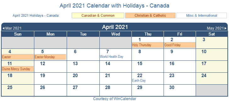 Print Friendly April 2021 Canada Calendar For Printing