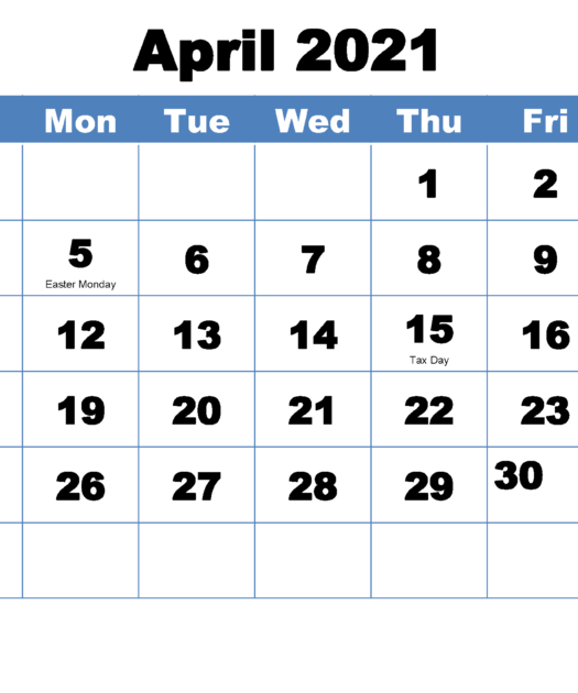 Printable April 2021 Calendar With Holidays Free