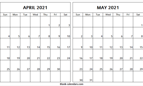 Printable April May 2021 Calendar Free Blank Apr 2021