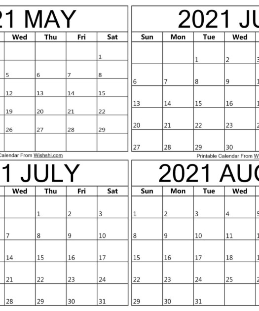 Printable May To August 2021 Calendar Free Printable