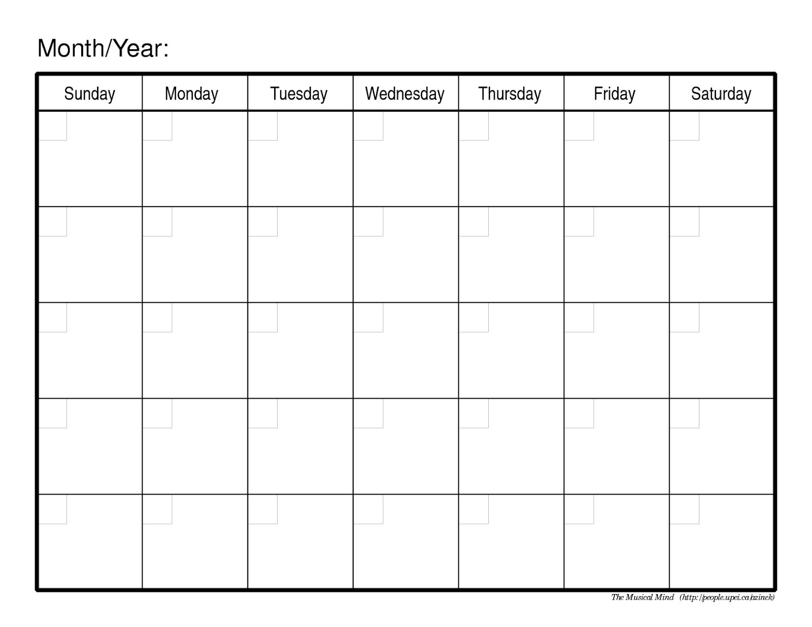 Printable Monthly Calendar Without Dates Monthly