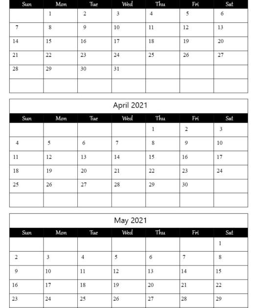 2021 March April May Calendar Printable The Calendar