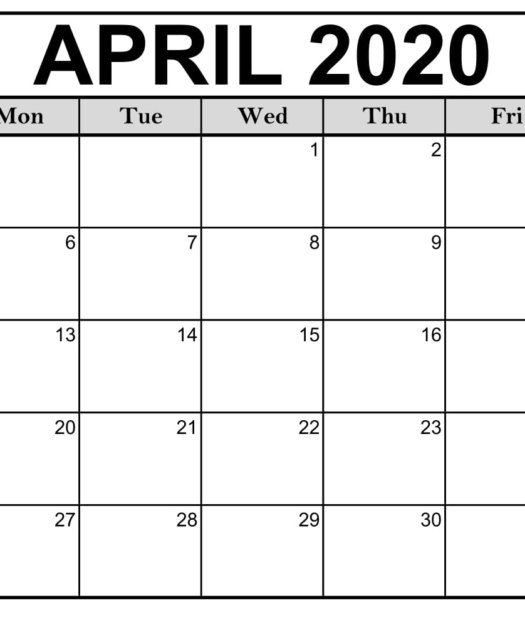 April 2020 Calendar Printable Monthly Calendar Idea Hunt