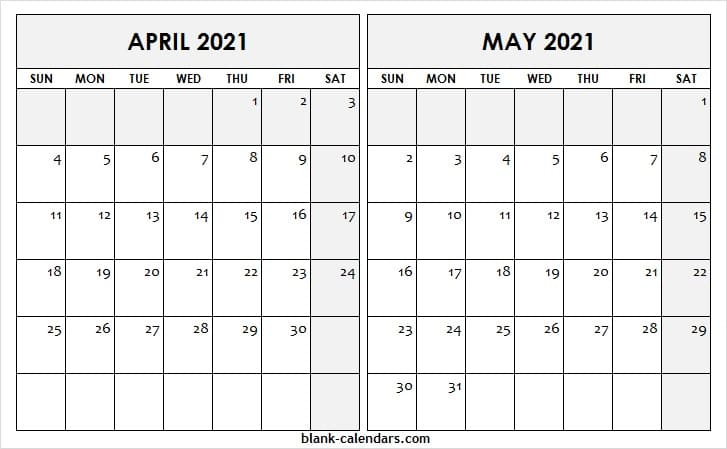 April May 2021 Calendar Printable Blank Free Monthly