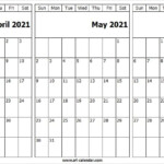 April May June 2021 Calendar April 2021 Calendar To Print