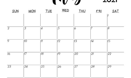Blank May 2021 Calendar Printable Latest Calendar