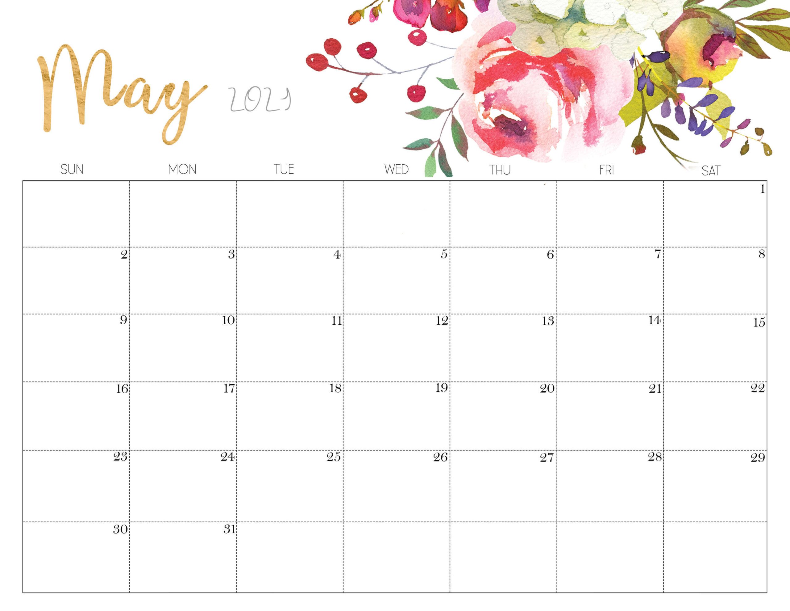 Floral May 2021 Calendar Printable Time Management Tools