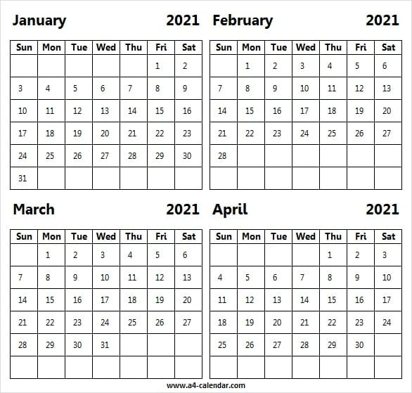 Jan To Apr 2021 Calendar A4 Template Printable Monthly