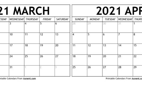 March April 2021 Calendar Templates Time Management