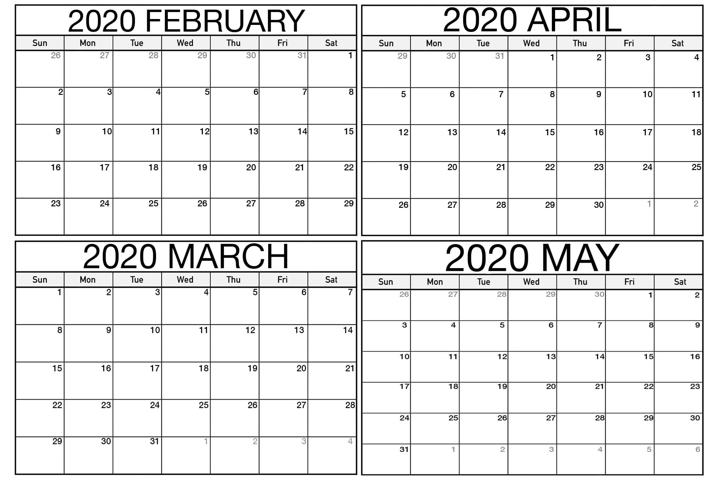 March April May 2020 Calendar Printable 3 Months