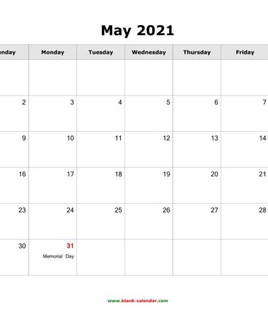 May 2021 Blank Calendar Free Download Calendar Templates