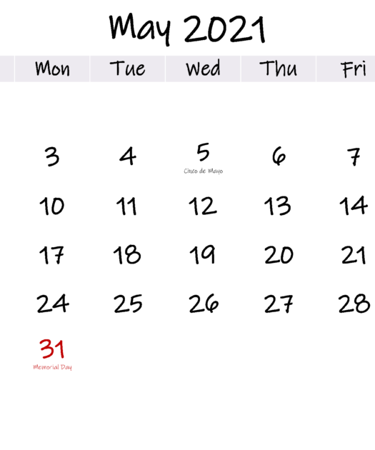 May 2021 Free Printable Calendar With Holidays Template