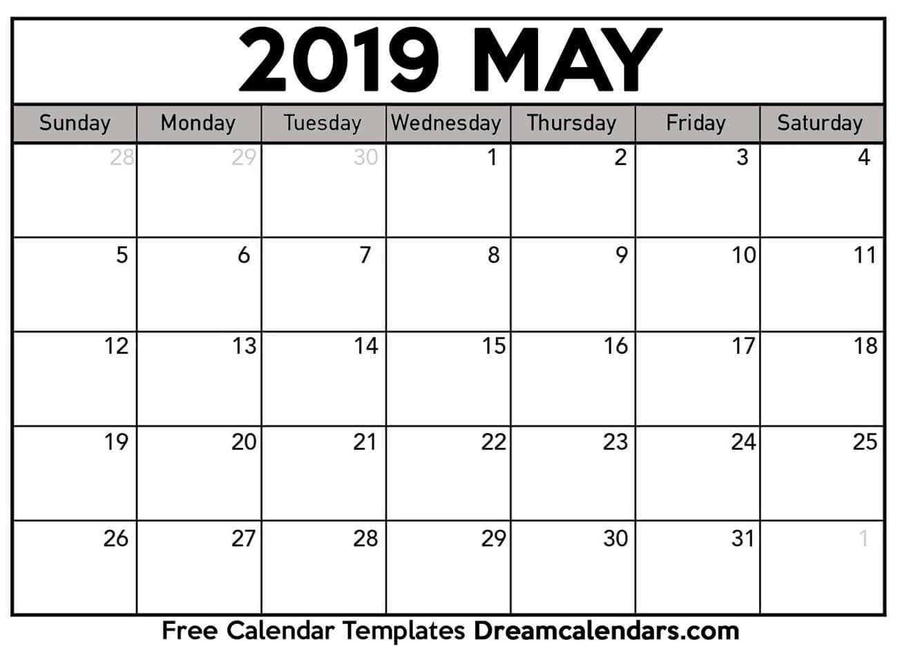 Printable Blank May 2019 Calendar On We Heart It