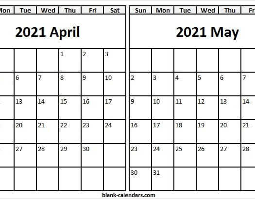 Printable Calendar April May 2021 Excel PDF JPG Images