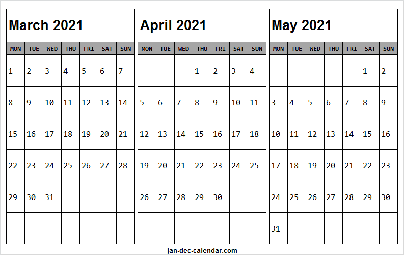 Printable March To May 2021 Calendar With List To Do List