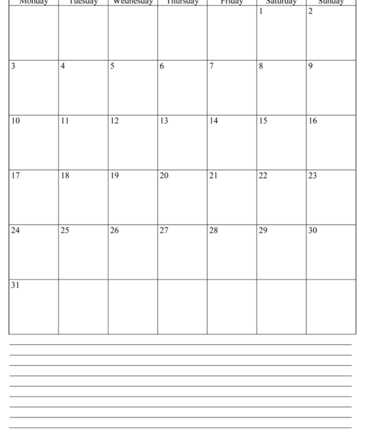 Printable May Calendar 2021 With Notes Portrait