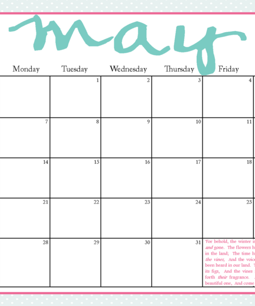 The Blogging Pastors Wife Printable Calendars For May 2012