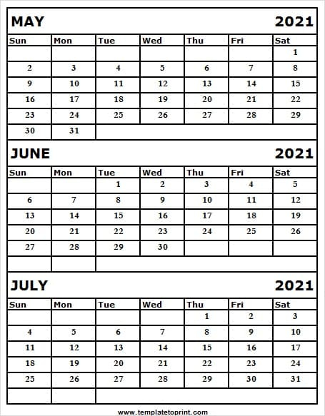 Three Month Calendar May To July 2021 Calendar 2021 Free