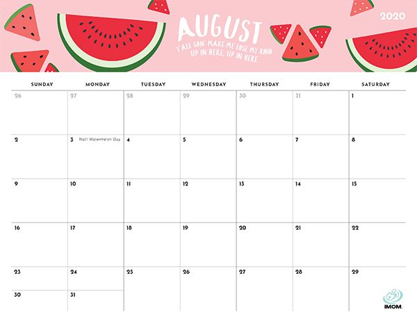2021 Foodie Printable Calendars For Moms IMom August
