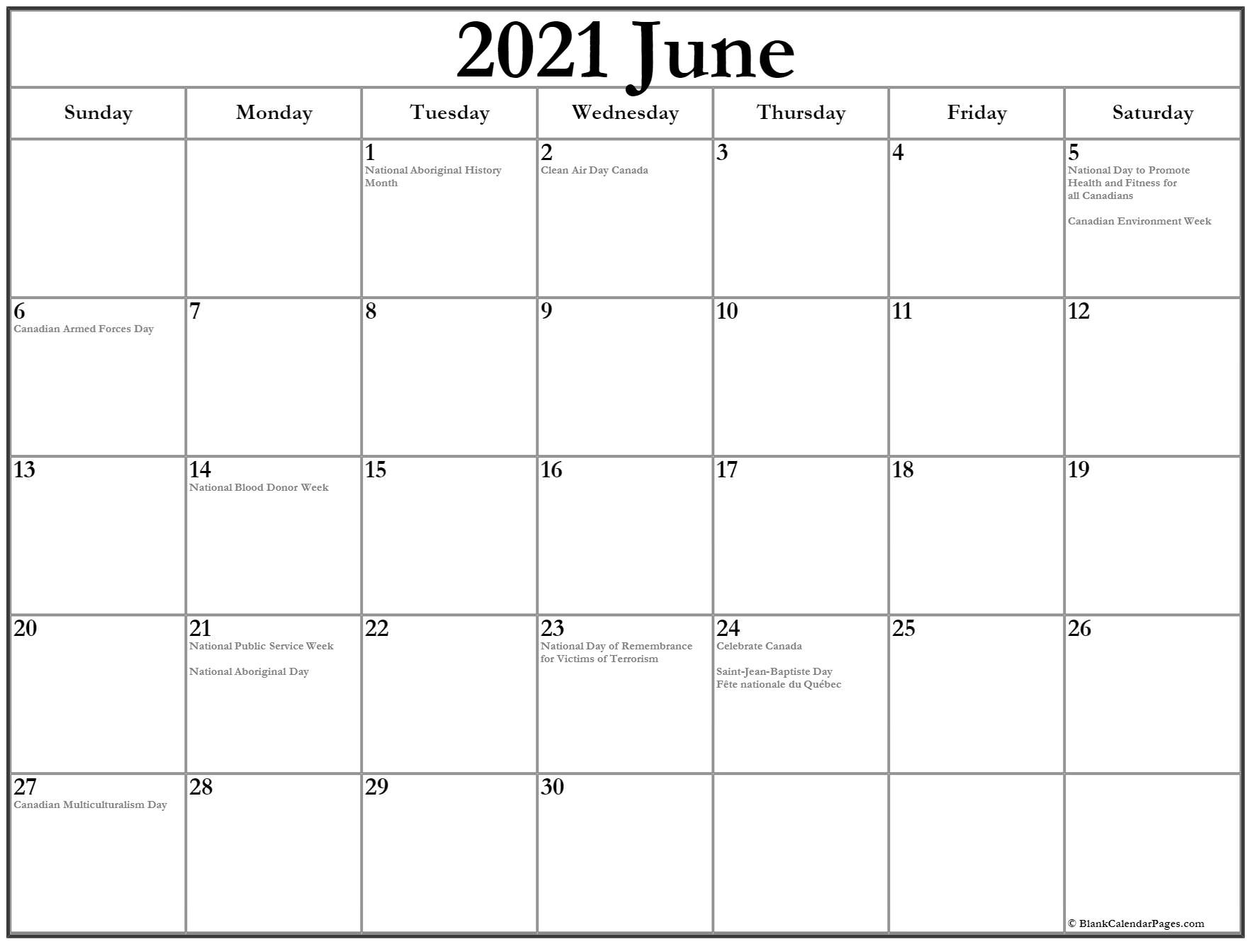 Collection Of June 2021 Calendars With Holidays