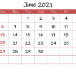 Printable June 2021 Calendar With Holidays Template Ink21m30