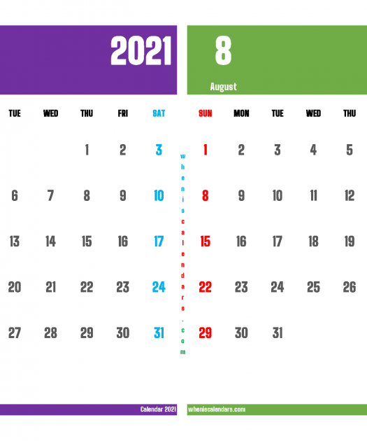 Calendar For July And August 2021