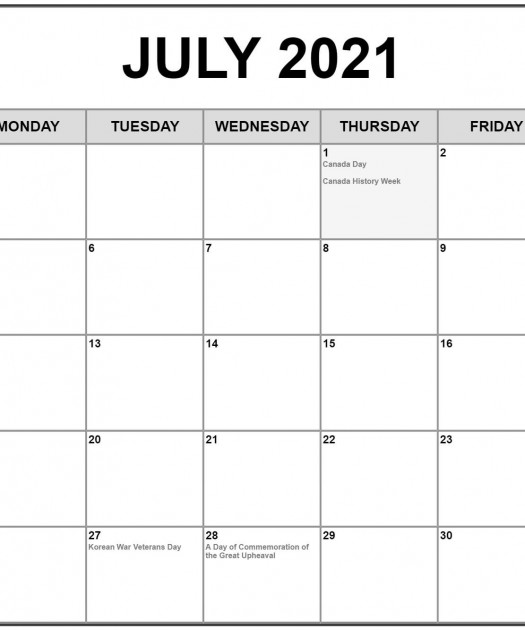 July 2021 With Holidays Calendar