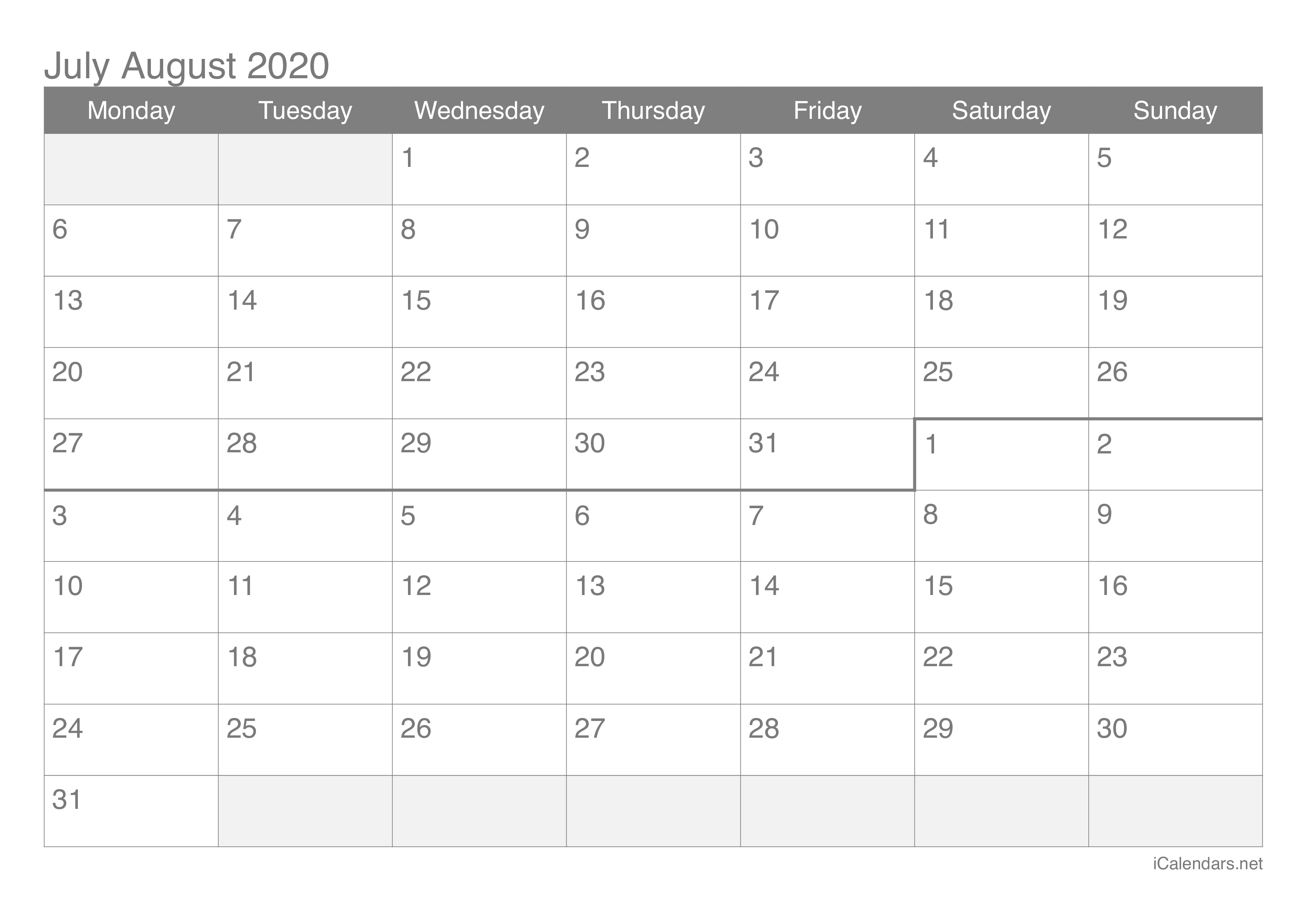July And August 2020 Printable Calendar Icalendars