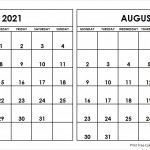 July And August 2021 Calendar Starting Monday Archives
