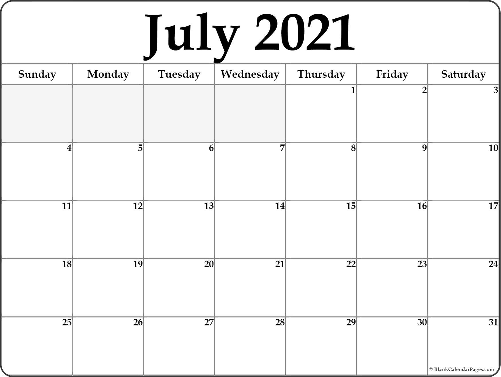 Printable 2021 July Calendar By Month Monthly Calendar
