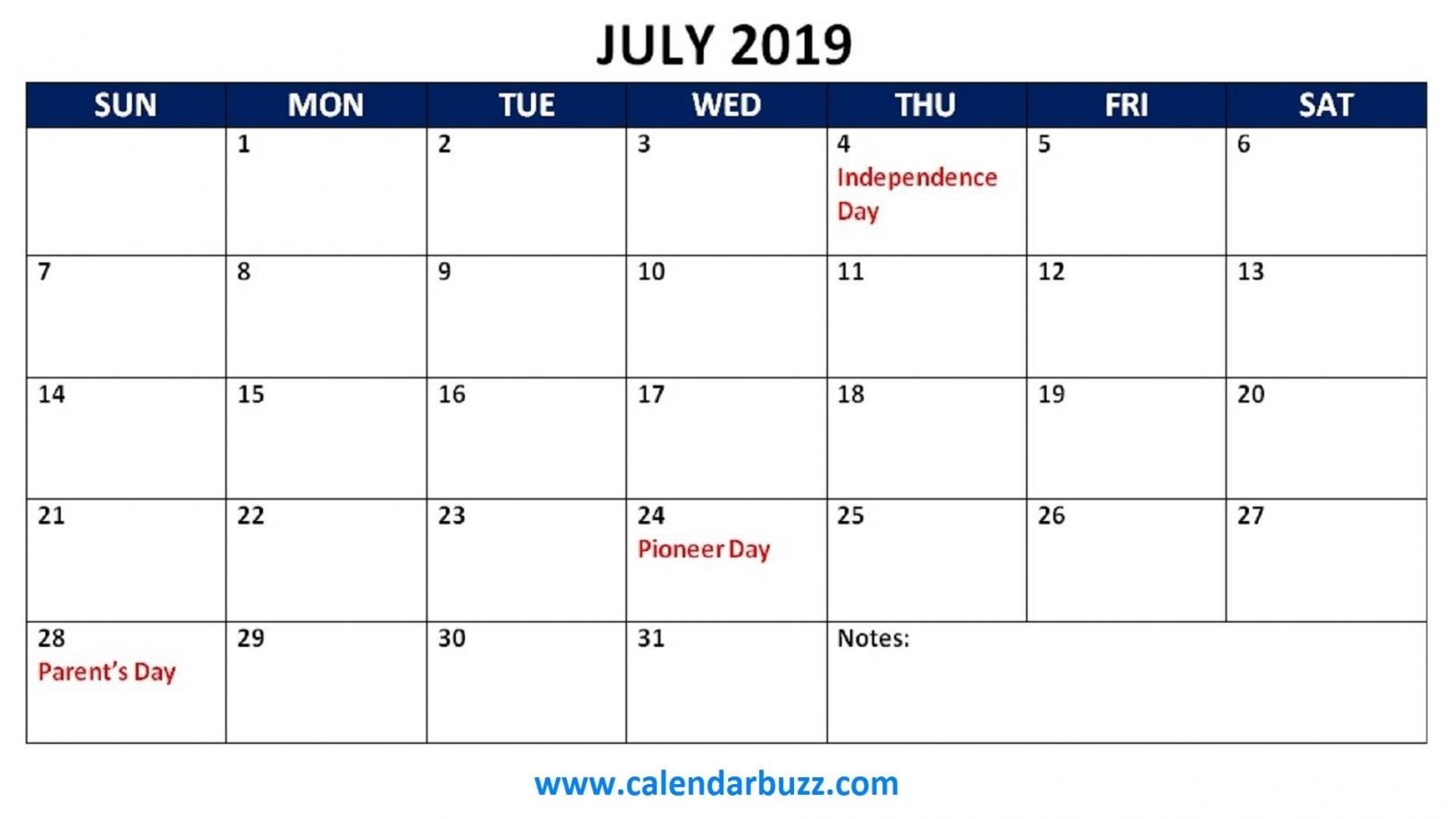 Printable Monthly Calendar With Holidays