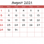 Printable August 2021 Calendar With Holidays Template