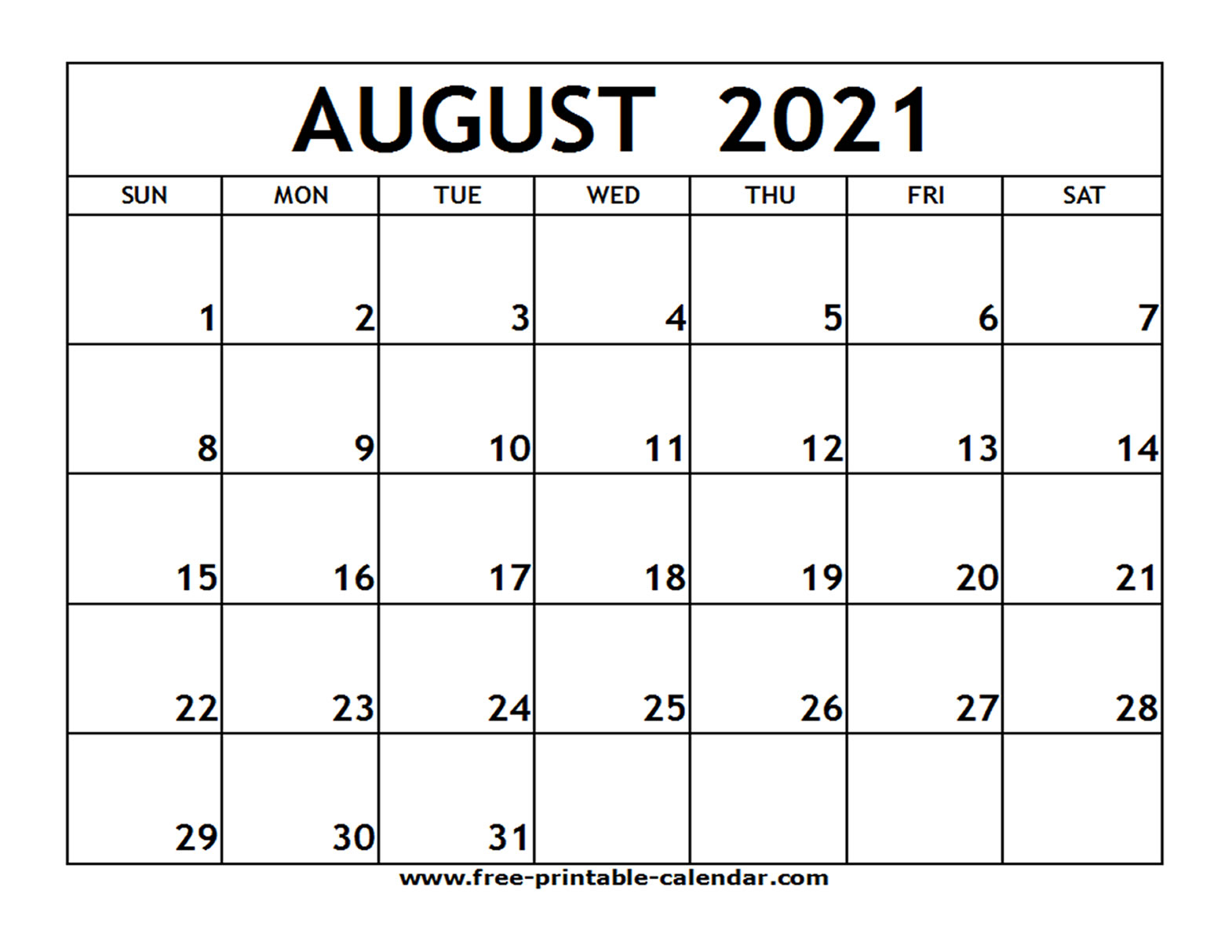 Printable Monthly Calendar August 2021 Free 2021