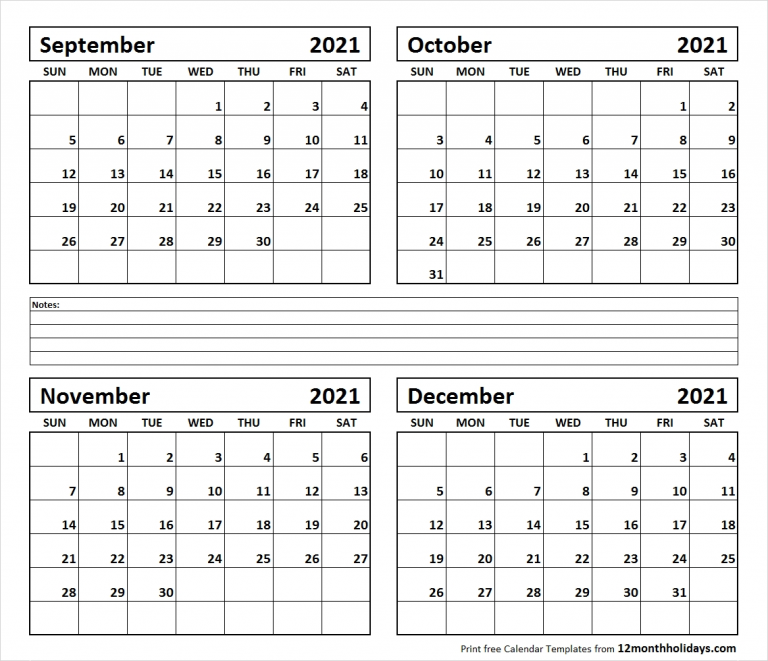 Two Month Sept And October Calendar 2021 Template