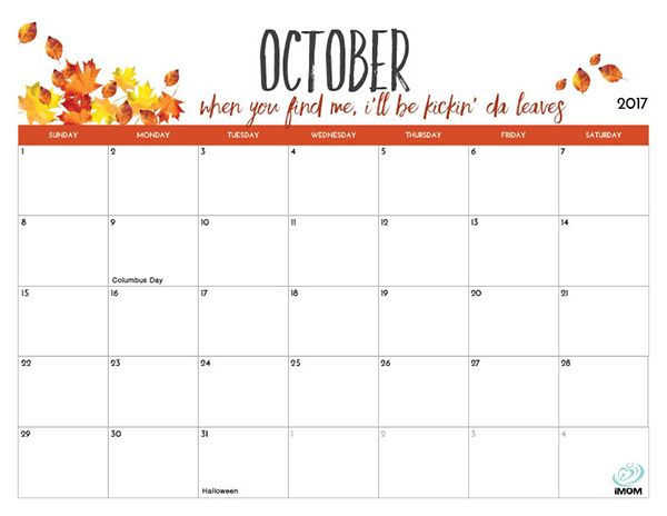 2021 Printable Calendars For Moms IMOM October